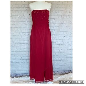 Red Formal Strapless Gown